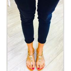Zlaté sandálky se stříbrnými kamínky WINGS