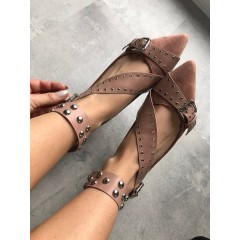 Růžové baleríny s pásky Miu