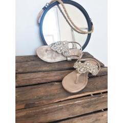 Zlaté sandálky s kamínky Stone