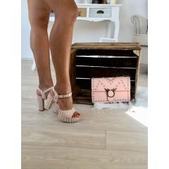 Páskové sandálky na podpaktu Studs nude