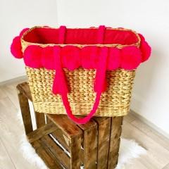 Piknik koš s pompomy růžový
