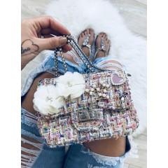 Mini kabelka Luisa světlá s bílými květy