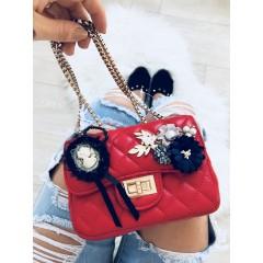Mini kabelka Luisa červená hladká s broží