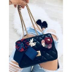 Mini kabelka Luisa černá hladká s modro/bordovou mašlí