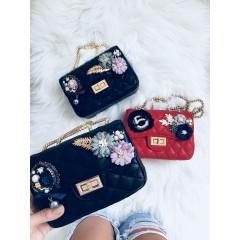 Mini kabelka Luisa černá hladká s modrou růží