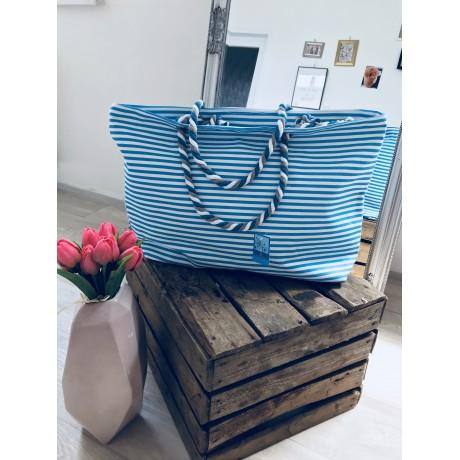 Letní plátěná taška s tenkým pruhem modro-bílá