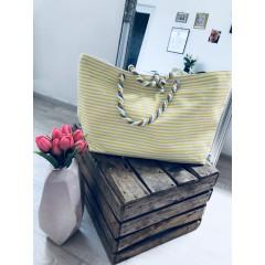 Letní plátěná taška s tenkým pruhem žluto-bílá