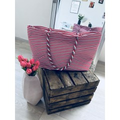 Letní plátěná taška s tenkým pruhem červeno-bílá