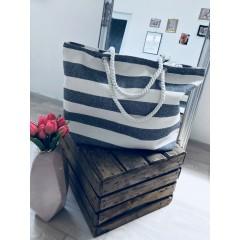 Letní plátěná taška černo-bílá