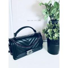Černá kožená kabelka Cheis