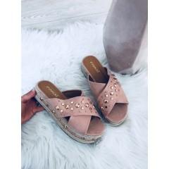Růžové pantofle na podpatku GOLD