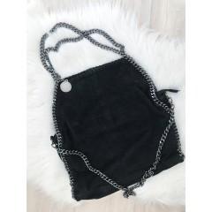 Kabelka z černé kůže - chain