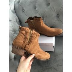 Semišové kotníkové boty - Camel