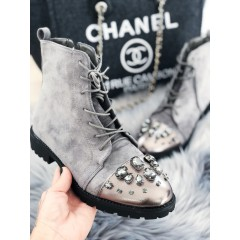 Šedé kotníkové boty Miu diamond
