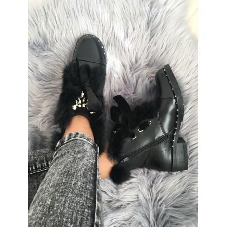 Černé kotníkové boty Dolce - s kožíškem
