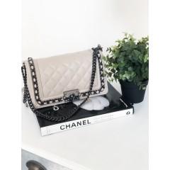 Béžová kožená kabelka Cheis