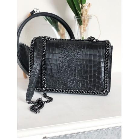 Kožená kabelka Stella chain - černá