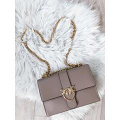 Pudrová kabelka Love story celo kožená zlatý popruh