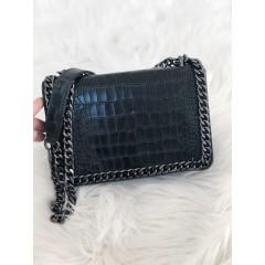 Kožená kabelka Stella chain - černá MINI