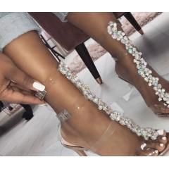 Boty na podpatku s hadím vzorem a kamínky