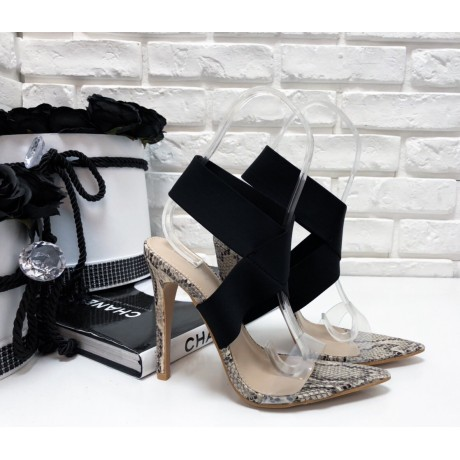 Boty na podpatku s hadím vzorem a černou páskou
