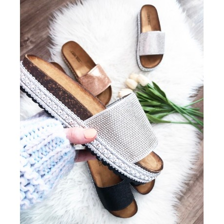 Pantofle Diamond stříbrné