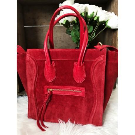 Červená kabelka model Celine, broušená kůže