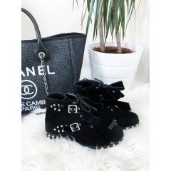 Kotníkové boty model Saint černé - semišové