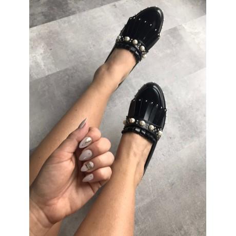 Černé kožené mokasíny Pearl