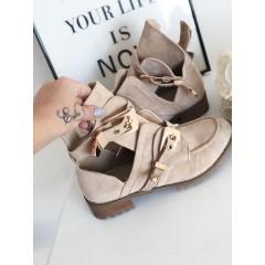 Semišové boty Ballanci krémové