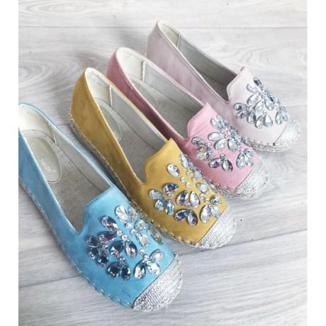 2a8b2338c Espadrilky s kamínky Gloria světle modré - I wanna shoes