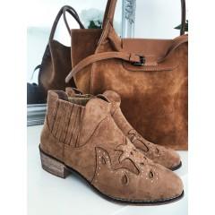 Kotníkové boty Ornament - camel