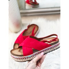 Páskové pantofle Ariana červené