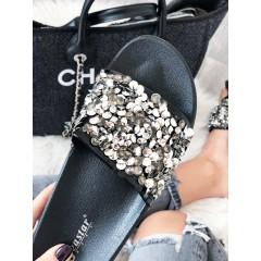 Pantofle s kamínky černé