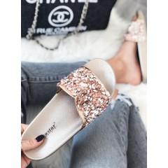 Pantofle s kamínky champagne