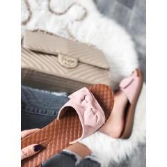 Pantofle s mašlí pudrové