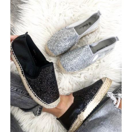 Espadrilky basic černé - glitter