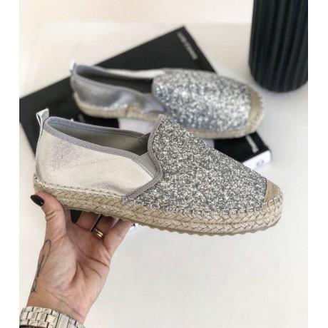 Espadrilky basic silver - glitter
