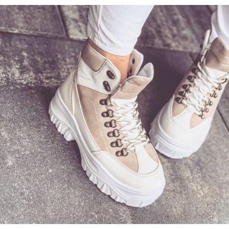 Zimní boty s kožíškem Hermer krémové