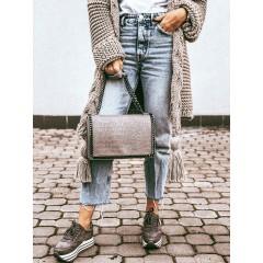 Kožená kabelka Stella chain - šedá