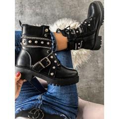Černé boty biker Pearl s řetízkem