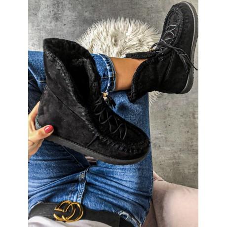 Černé luxusní válenky s kožíškem