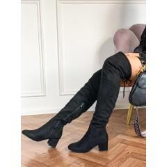 Černé kozačky High-knee Basic Suede na nízkém podpadku