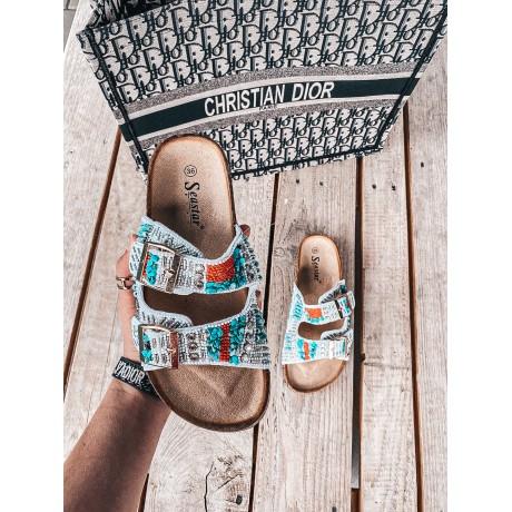 Perličkové pantofle Indianna bílé
