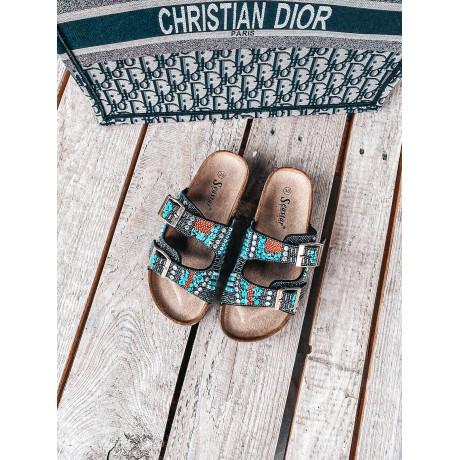 Perličkové pantofle Indianna černé