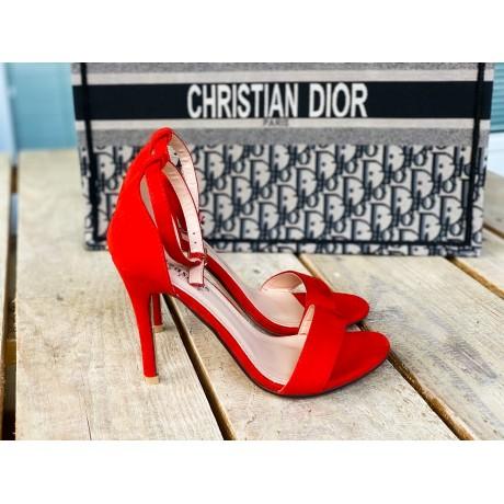 Páskové boty na podpatku Elegance červené