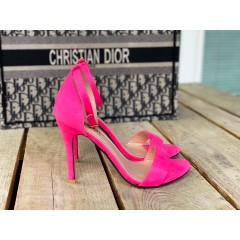 Páskové boty na podpatku Elegance fuchsiové