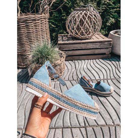 Modré páskové espadrilky Lian