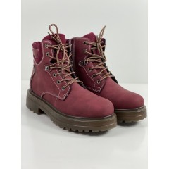 Kotníkové boty s vázáním red